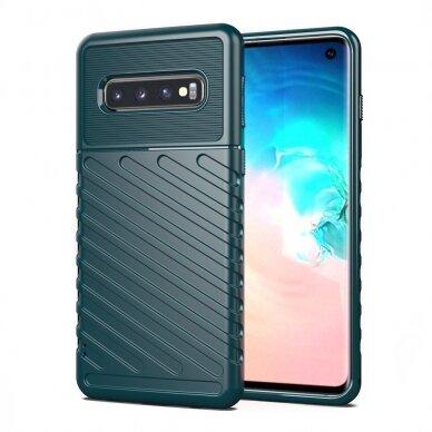 Akcija! Samsung galaxy S10 dėklas Flexible Tough Rugged Cover TPU žalias