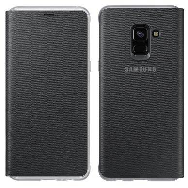 """Samsung Galaxy A8 2018 originalus išmanus atverčiamas dėklas """"Neon Flip Cover"""" juodas"""