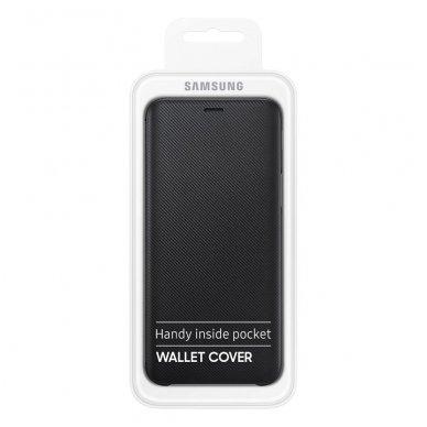 """Samsung Galaxy A6 Plus originalus išmanus atverčiamas dėklas """"Wallet Cover"""" juodas 7"""