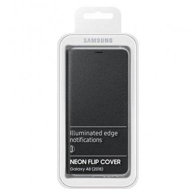 """Samsung Galaxy A8 2018 originalus išmanus atverčiamas dėklas """"Neon Flip Cover"""" juodas 6"""