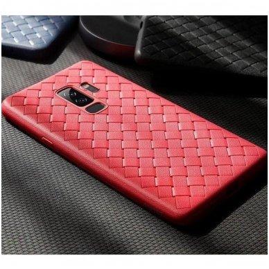 """akcija! Samsung galaxy A8 2018 dėklas """"N TOPS KNIT"""" silikonas raudonas  2"""