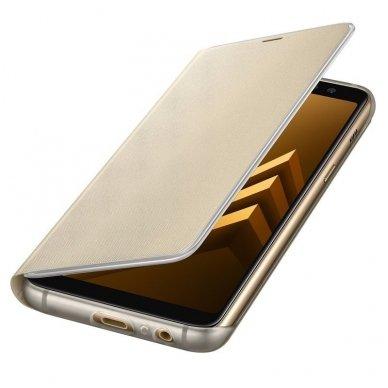 """Samsung Galaxy A8 2018 originalus išmanus atverčiamas dėklas """"Neon Flip Cover"""" auksinis 4"""