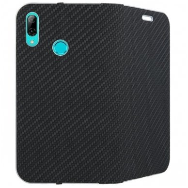 Huawei p smart 2019 ATVERČIAMAS DĖKLAS VENNUS CARBON PU ODA JUODAS   2