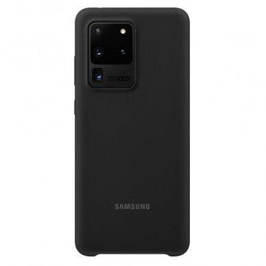 Akcija! Samsung Galaxy S20 ultra originali Silicone Cover Flexible Gel nugarėlė juoda