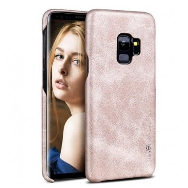 Samsung galaxy S9 dėklas X-LEVEL VINTAGE eko oda auksinis