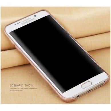 Samsung galaxy S6 EDGE PLUS dėklas X-LEVEL VINTAGE eko oda auksinis 2
