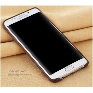 Samsung galaxy S6 EDGE PLUS dėklas X - LEVEL VINTAGE eko oda rudas 2