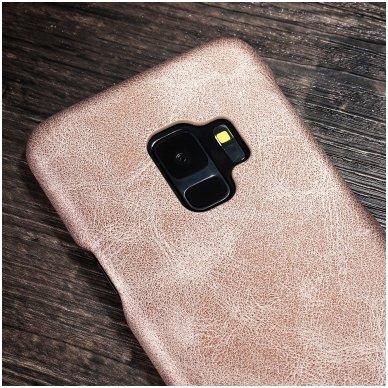 Samsung galaxy S9 dėklas X-LEVEL VINTAGE eko oda auksinis 2