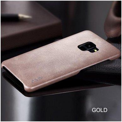 Samsung galaxy S9 dėklas X-LEVEL VINTAGE eko oda auksinis 3