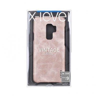 Samsung galaxy S9 dėklas X-LEVEL VINTAGE eko oda auksinis 4
