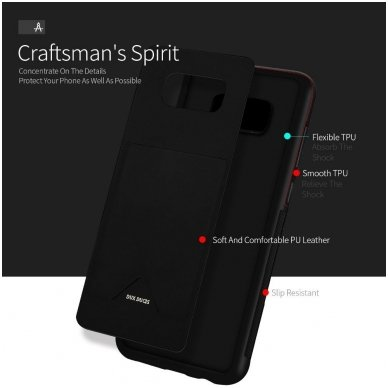 Samsung  s8 plus atverčiamas dėklas DUX DUCIS PoCard eko oda ir TPU juodas 3