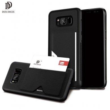 Samsung  s8 plus atverčiamas dėklas DUX DUCIS PoCard eko oda ir TPU juodas