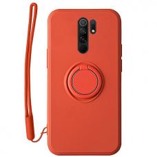 Xiaomi redmi 9 dėklas su magnetu Pastel Ring raudonas