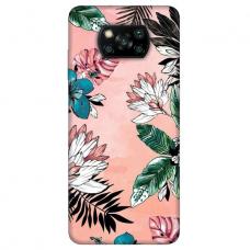 """Xiaomi Poco X3 NFC TPU dėklas unikaliu dizainu 1.0 mm """"u-case Airskin Flowers 1 design''"""