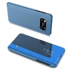 Akcija! Xiaomi Poco X3 NFC ATVERČIAMAS DĖKLAS CLEAR VIEW VEIDRODINIU-PERMATOMU DANGTELIU mėlynas