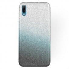 huawei y6 2019 dėklas glitter silikonas sidabrinis-juodas