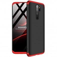 Akcija! Xiaomi redmi note 8 pro HURTEL dėklas dvipusis 360 plastikas juodas-raudonas