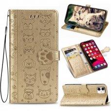 iphone 11 pro atverčiamas dėklas Cat-Dog PU oda auksinis