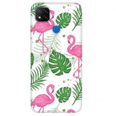 """Xiaomi Redmi 9C TPU dėklas unikaliu dizainu 1.0 mm """"u-case Airskin Flamingos design"""""""
