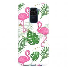 """Xiaomi Redmi note 9 TPU dėklas unikaliu dizainu 1.0 mm """"u-case Airskin Flamingos design"""""""