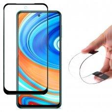 Akcija! Xiaomi redmi note 9s / 9 pro apsauginis grūdintas stiklas Wozinsky Full Cover Flexi Nano Glass Hybrid juodais kraštais