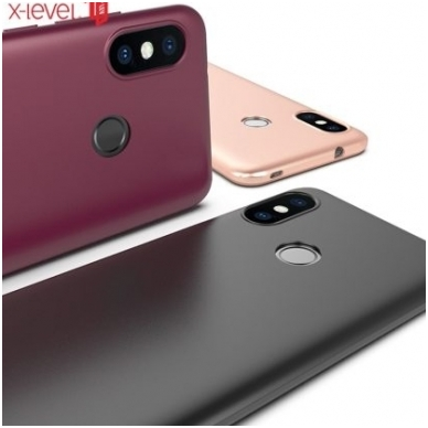 xiaomi mi a2 lite (redmi 6 pro) DĖKLAS X-LEVEL GUARDIAN SILIKONINIS 0,6MM bordo 2